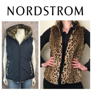 NWT Kristen Blake Leopard Reversible Faux Fur Vest